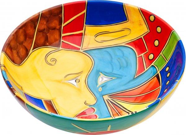 "Magu Keramik Schale rund 26cm handbemalt ""FACE to FACE"" - 180 113"