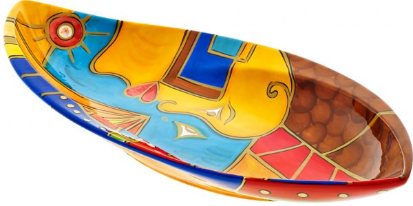 "Magu Keramik Blattschale 40cm handbemalt ""FACE to FACE"" - 180 134"