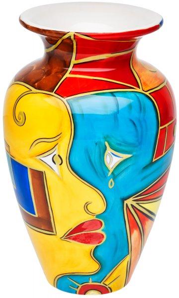 """Magu Keramik Vase 25cm handbemalt """"FACE to FACE"""" - 180 853"""
