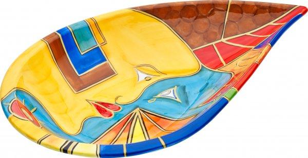 """Magu Keramik Schale oval 41cm handbemalt """"FACE to FACE"""" - 180 135"""
