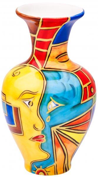 """Magu Keramik Vase 15cm handbemalt """"FACE to FACE"""" - 180 851"""